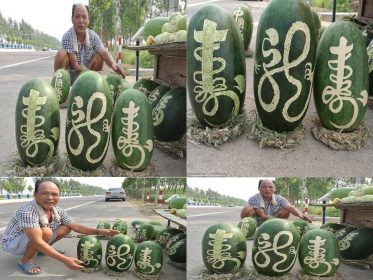 A china fruits sellers sells its watermelons in strange way