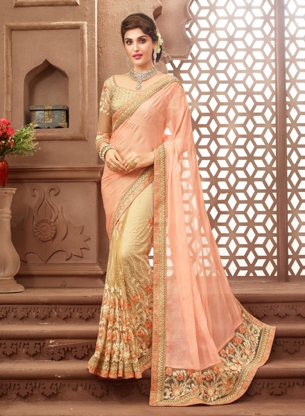 Indus peach embellished saree