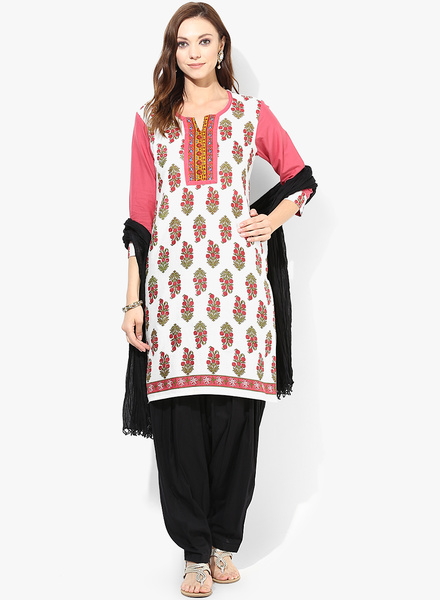 cotton white kurti with black patiala