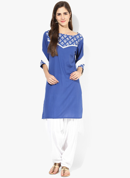 jaipur kurti navi blue printed cotton